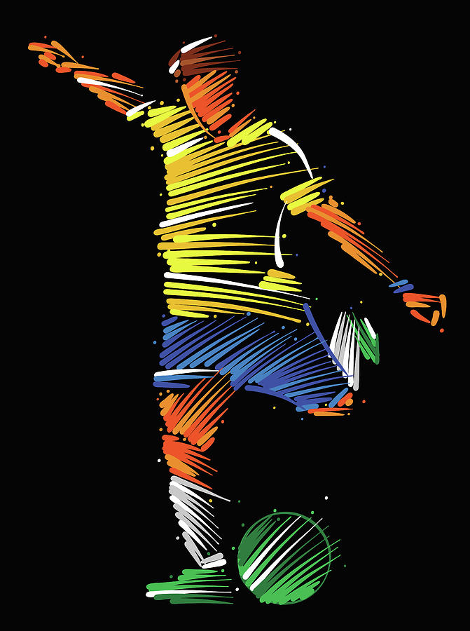 Soccer Player Running To Kick The Ball Digital Art by Dimitrius Ramos