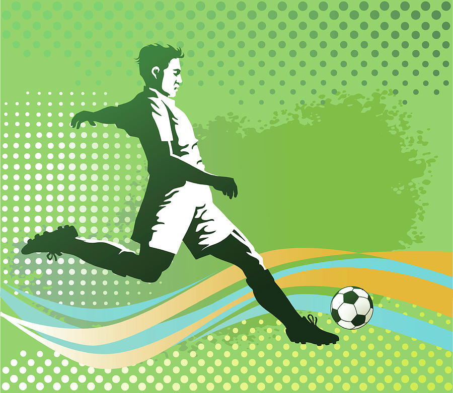 Soccer Player With Ball On Green Digital Art by Vasjakoman