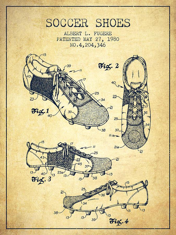 Soccer Shoe Patent From 1980 - Vintage Digital Art