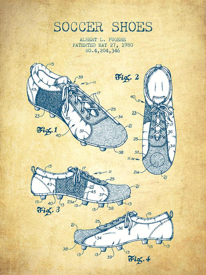 Soccer Shoe Patent From 1980 - Vintage Paper Digital Art