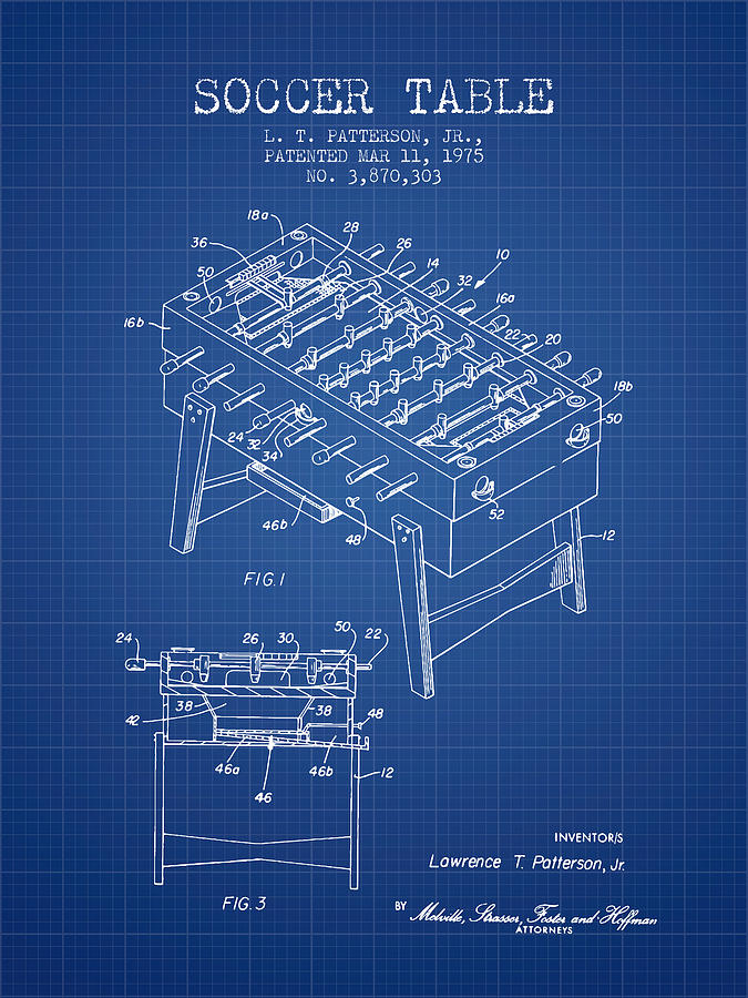 Soccer Table Game Patent From 1975 - Blueprint Digital Art