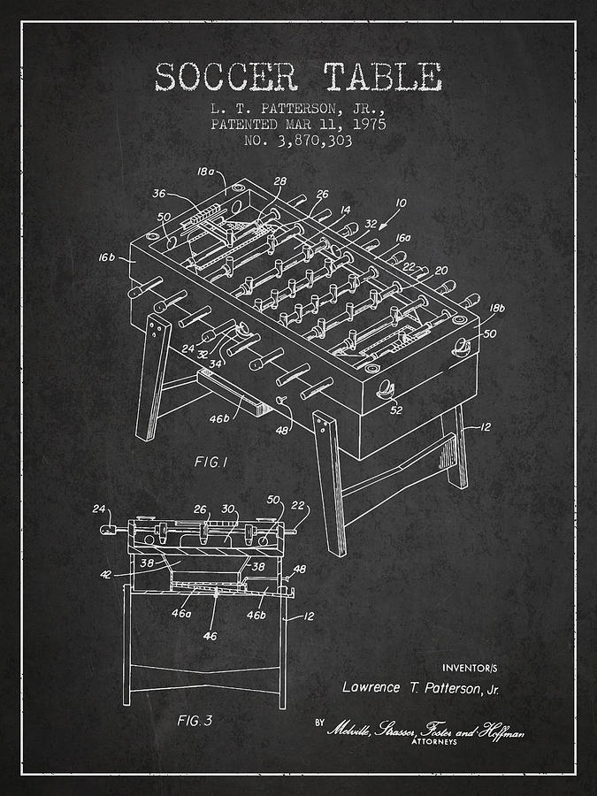 Soccer Table Game Patent From 1975 - Charcoal Digital Art
