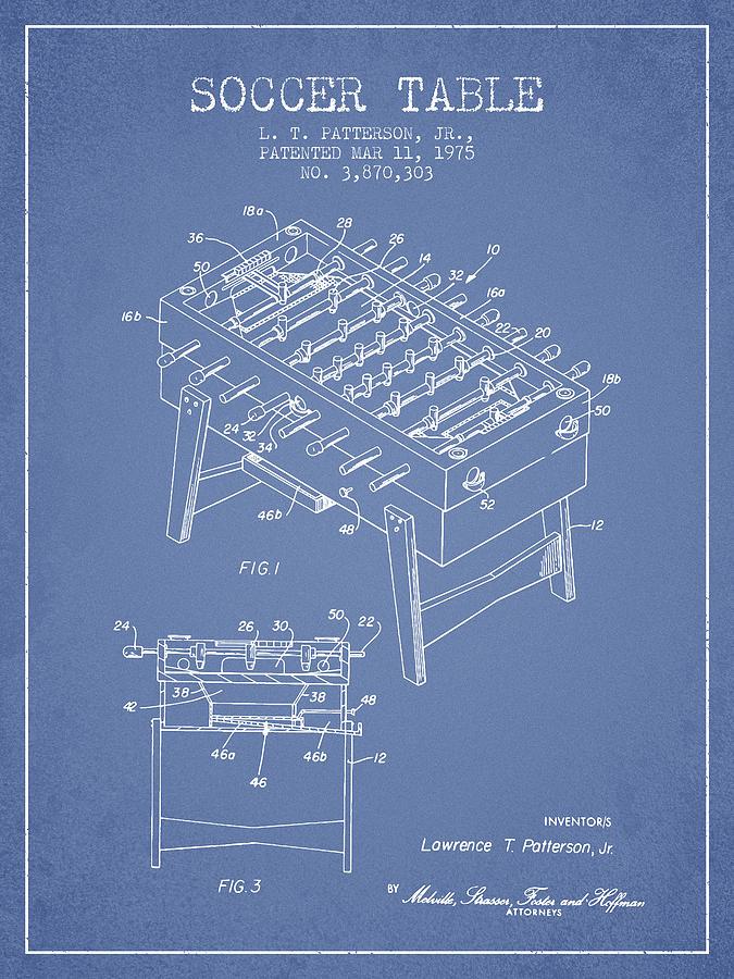 Soccer Table Game Patent From 1975 - Light Blue Digital Art