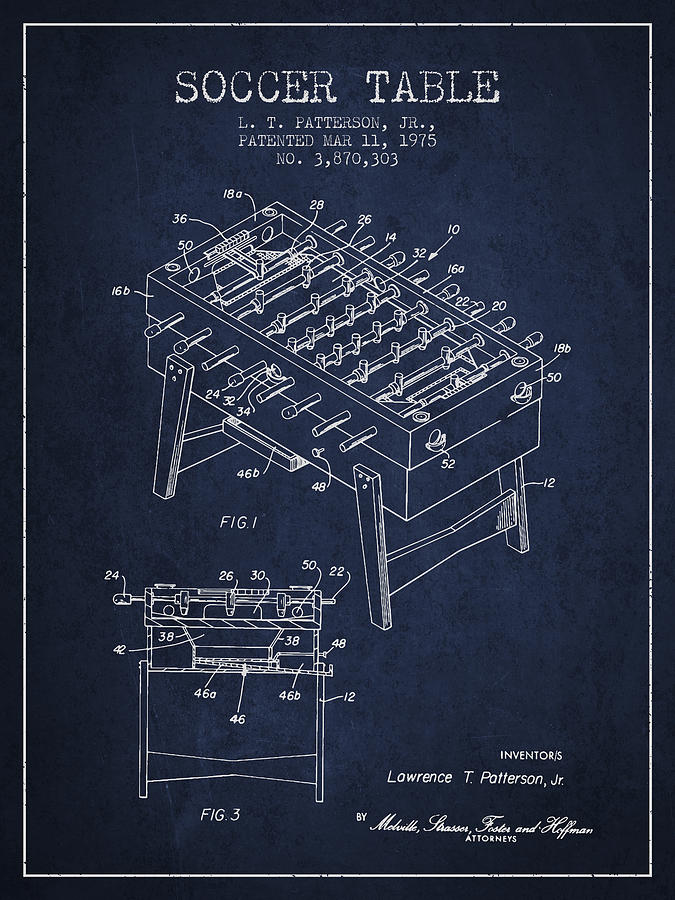 Soccer Table Game Patent From 1975 - Navy Blue Digital Art
