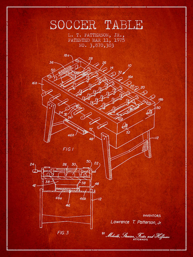 Soccer Table Game Patent From 1975 - Red Digital Art