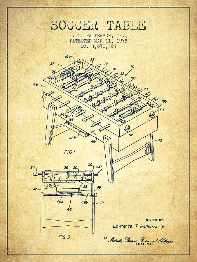 Soccer Table Game Patent From 1975 - Vintage Digital Art