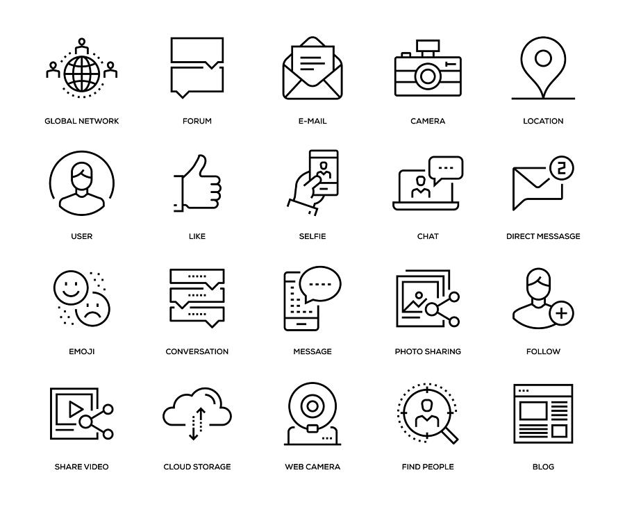 Social Media Icon Set Drawing by Enis Aksoy