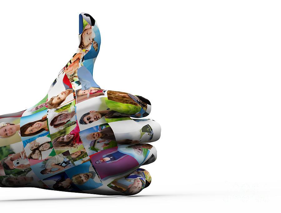 Social Digital Art - Social Media People Painted Hand In Ok Sign by Michal Bednarek