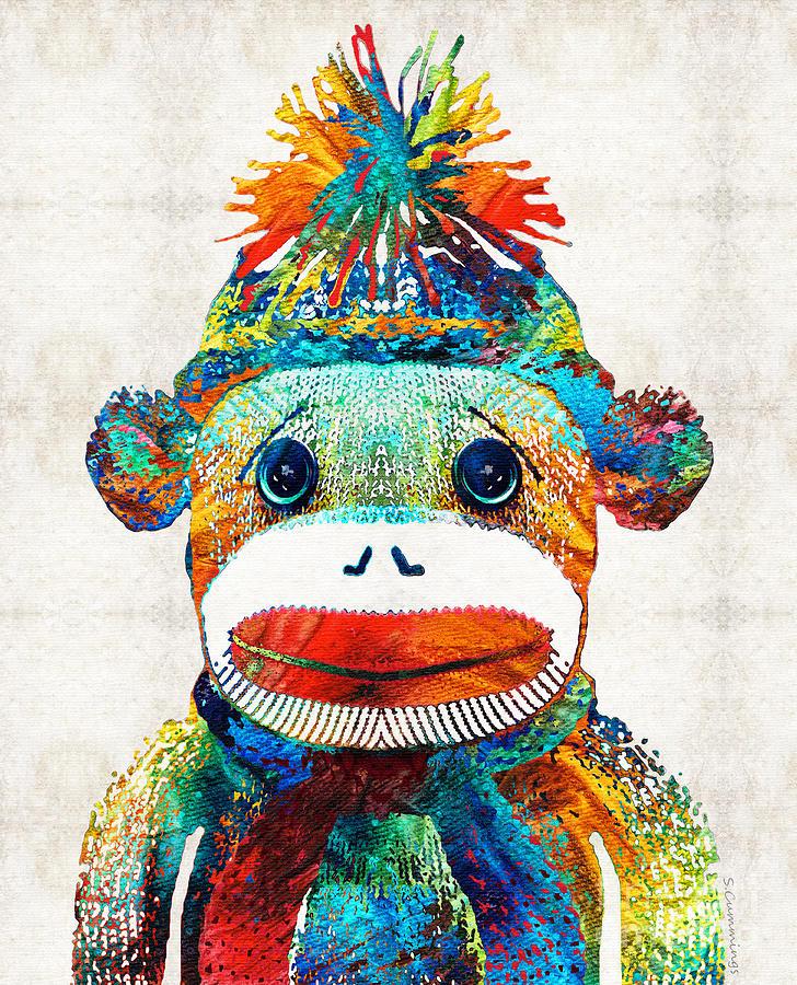 Sock Monkey Painting - Sock Monkey Art - Your New Best Friend - By Sharon Cummings by Sharon Cummings