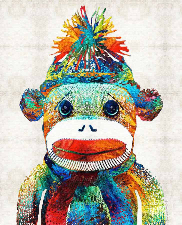 Sock Monkey Art - Your New Best Friend - By Sharon Cummings Painting ...