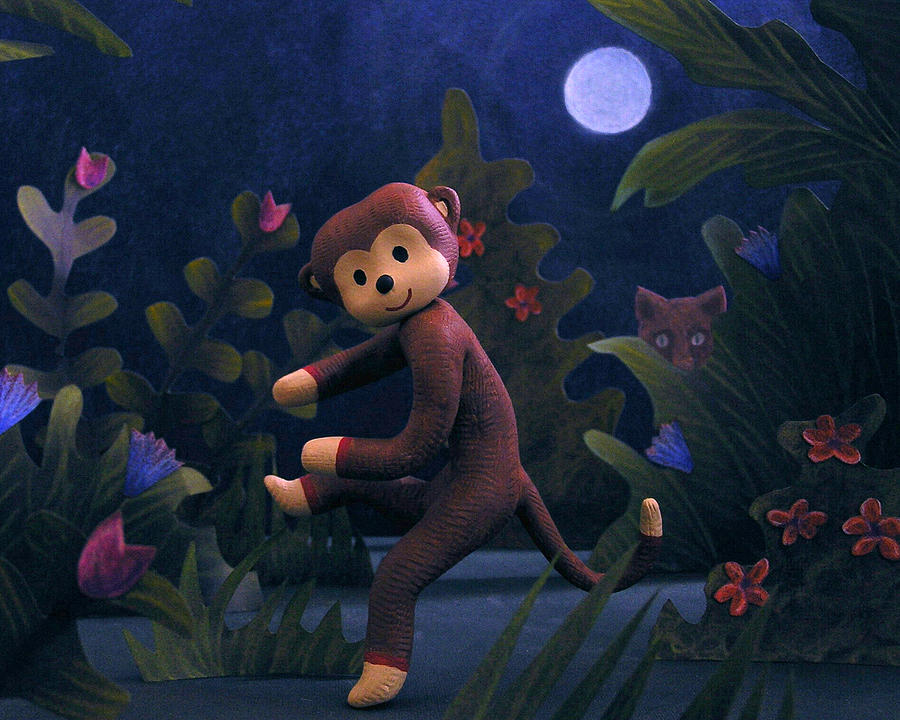 Sock Monkey Mixed Media - Sock Monkey in the Wild by Jennifer Montgomery