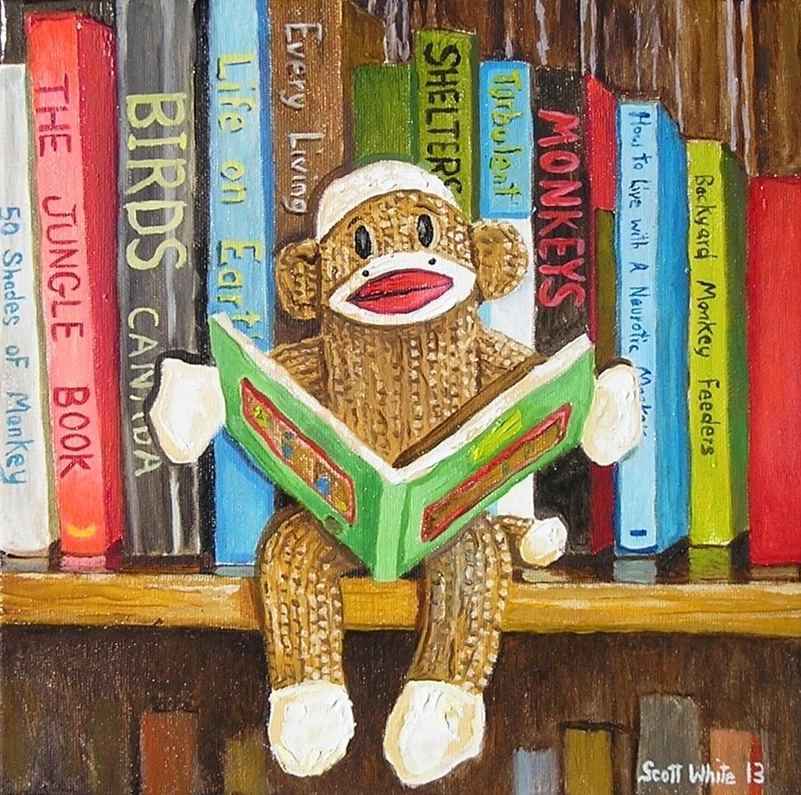 Swa Painting - Sock Monkey Reading A Book by Scott White