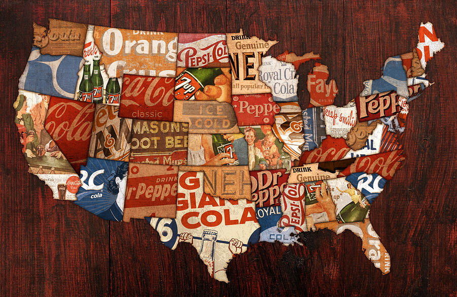 Soda Pop America Wrapper Vintage Pepsi Coke Coca Cola 7up Mountain Dew Root Beer Orange Crush Nehi Dr Pepper Drink Beverage Thirsty Usa Map Country Rc Bottle Can Box History Faygo Drink Ice Cold Carbonated Mixed Media - Soda Pop America by Design Turnpike