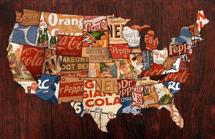 Pop America Mixed Media By Design Turnpike - Map of us coke pop soda