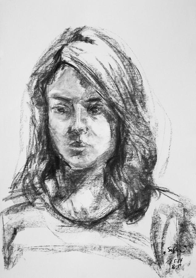 Girl Drawing - Sofia by Barbara Pommerenke