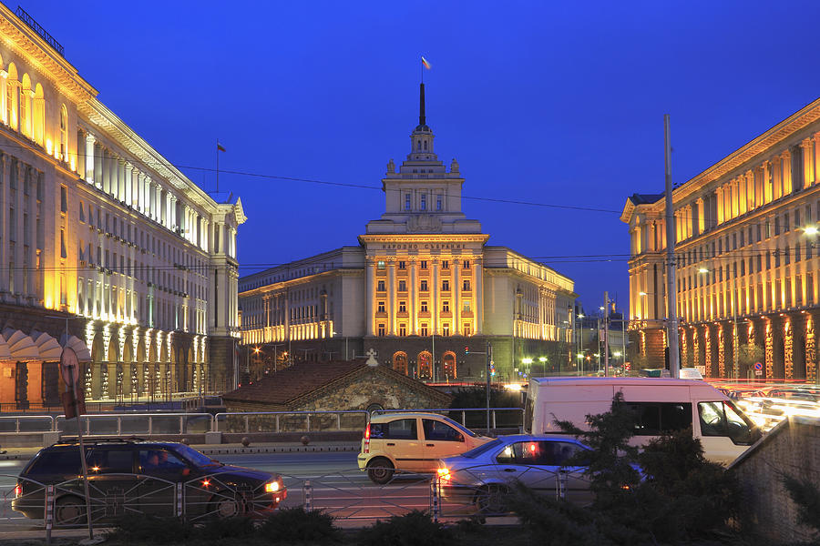 Sofia City Centre At Night Bulgaria Photograph By Ivan