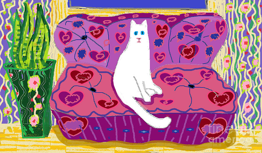 White Cat Digital Art - Soft Cat Sitting and Watching by Beebe  Barksdale-Bruner