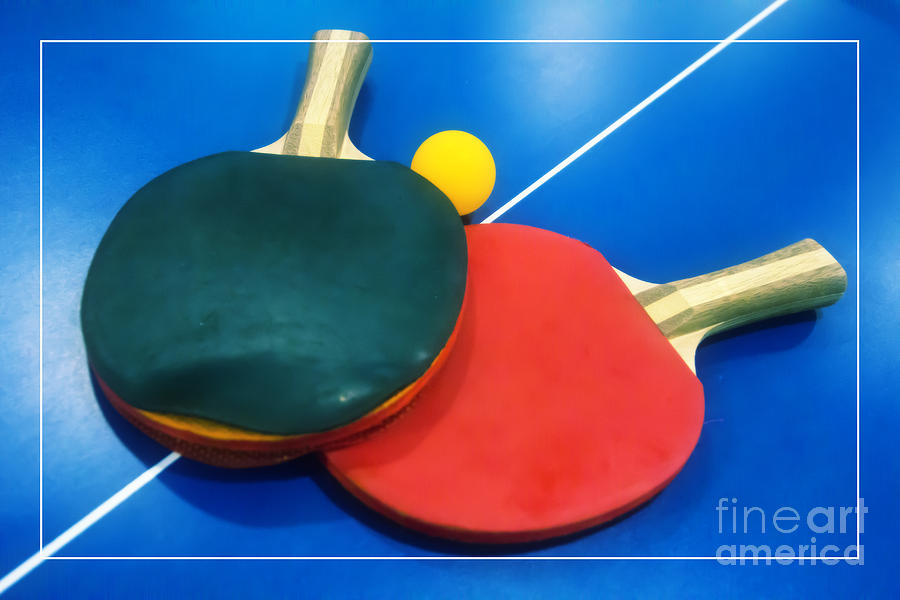 Ping-pong Photograph - Soft Dreamy Ping-pong Bats Table Tennis Paddles Rackets on Blue by Beverly Claire Kaiya