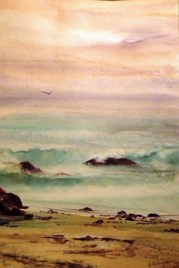 Seascape Painting - Soft Light Penguin Beach by Evelyn Antonysen
