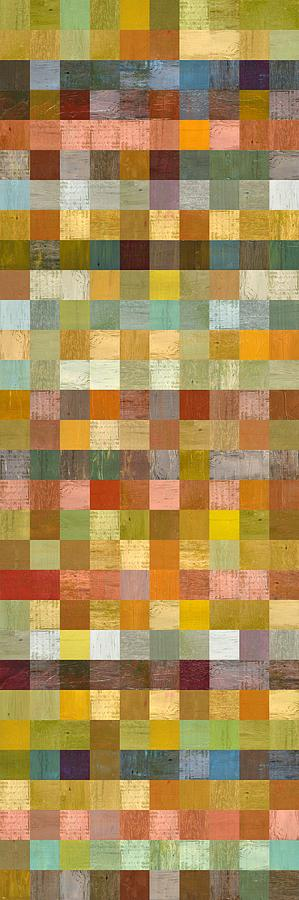 Abstract Painting - Soft Palette Rustic Wood Series Collage L by Michelle Calkins