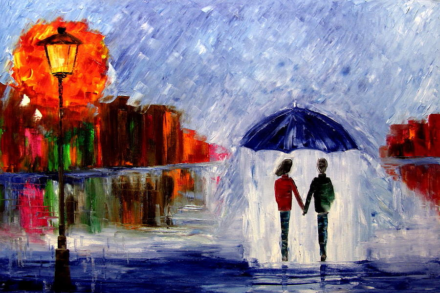 Walking In The Rain Painting - Soft Rain by Mariana Stauffer
