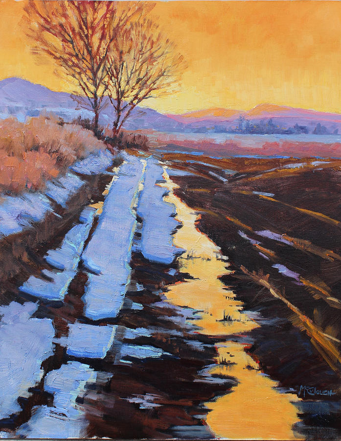 Landscape Painting - Soft Reflections At Sunset by Susan McCullough