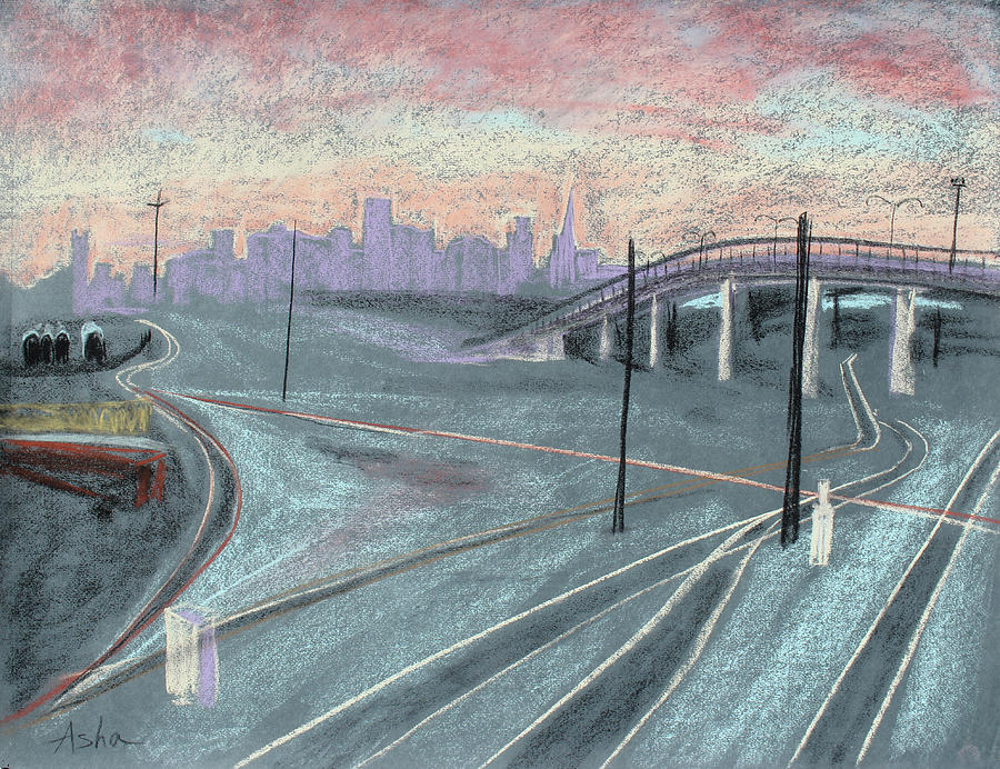 Cityscape Painting - Soft Sunset Over San Francisco And Oakland Train Tracks by Asha Carolyn Young