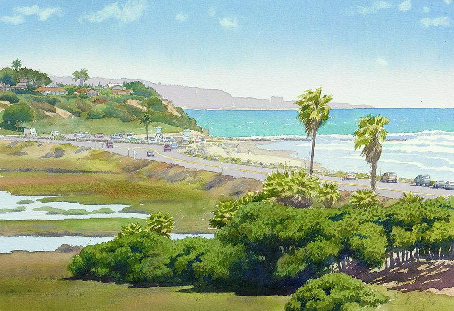 Solana Beach Painting - Solana Beach California by Mary Helmreich