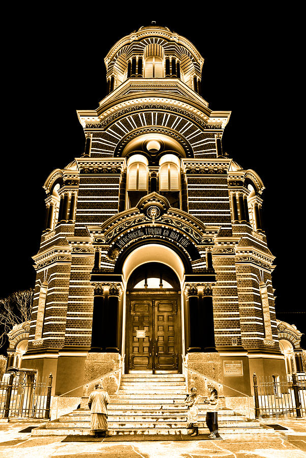 Eastern Photograph - Solar Gold - Nativity Of Christ Orthodox Cathedral - Riga - Latvia by David Hill