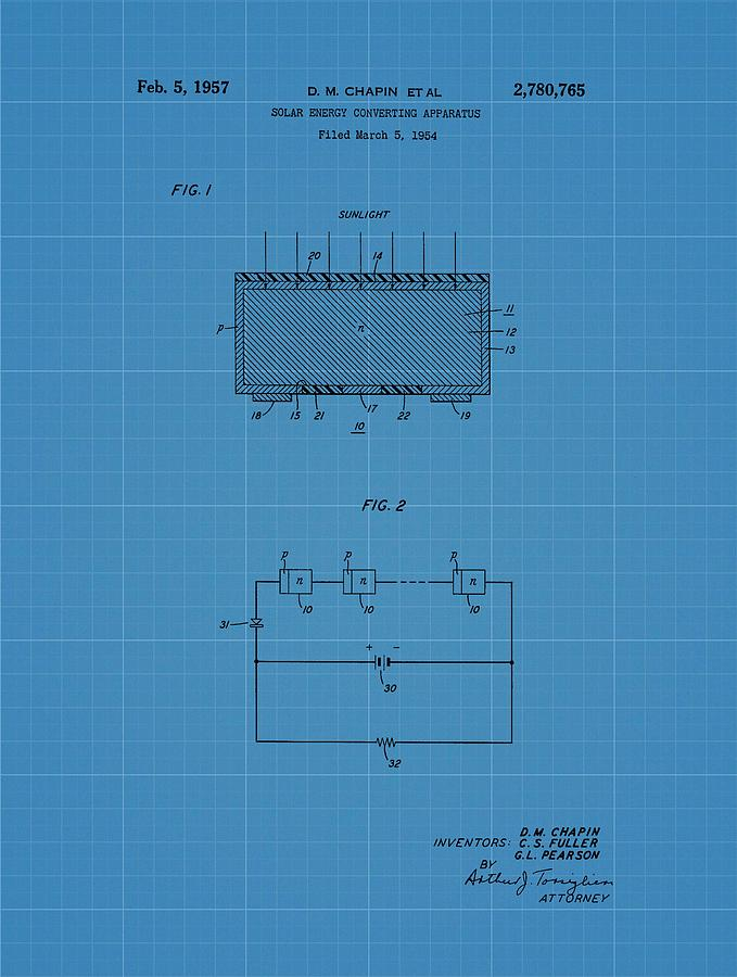 Solar panel blueprint patent drawing by dan sproul for Solar panel blueprint