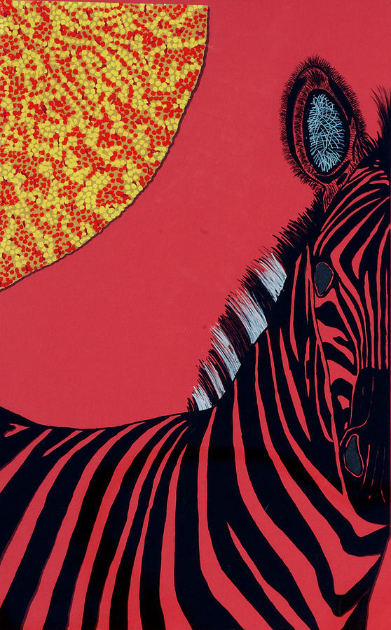 Solar Red Zebra Painting by Patrick OLeary