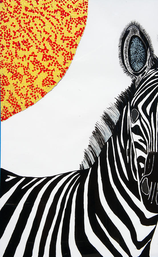 Solar White Zebra Painting by Patrick OLeary
