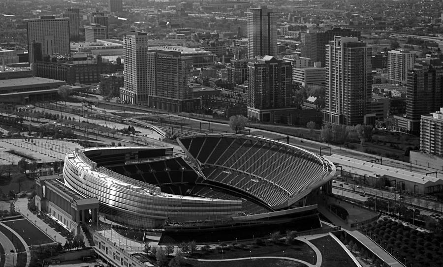 Chicago Photograph - Soldier Field Chicago Sports 05 Black And White by Thomas Woolworth