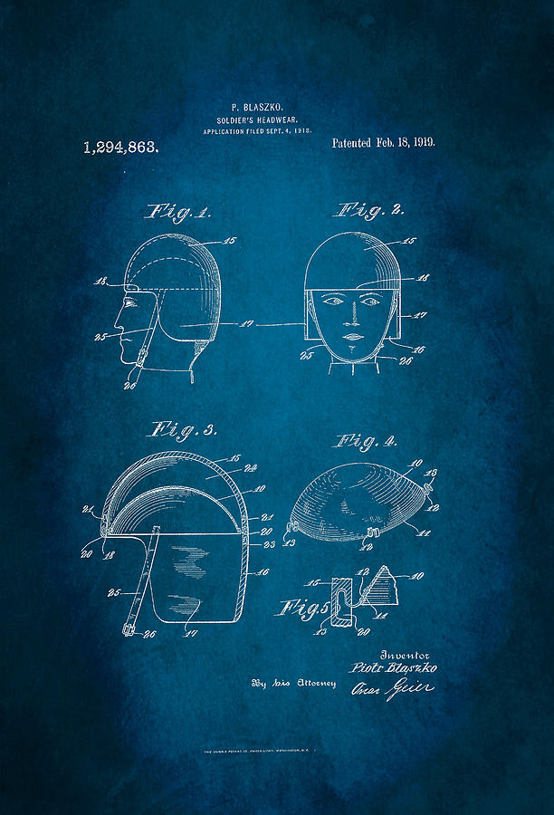 Invention Digital Art - Soldiers Headwear Patent 1919 by Patricia Lintner