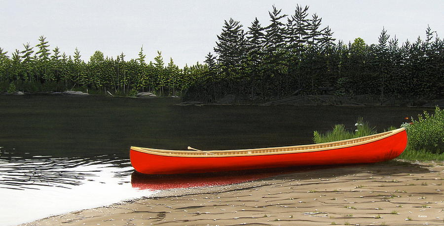 Canoes Painting - Solemnly by Kenneth M  Kirsch