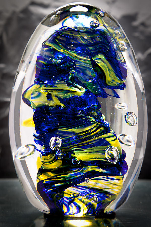 Glass Glass Art - Solid Glass Sculpture -13e4- Cobalt And Yellow  by David Patterson