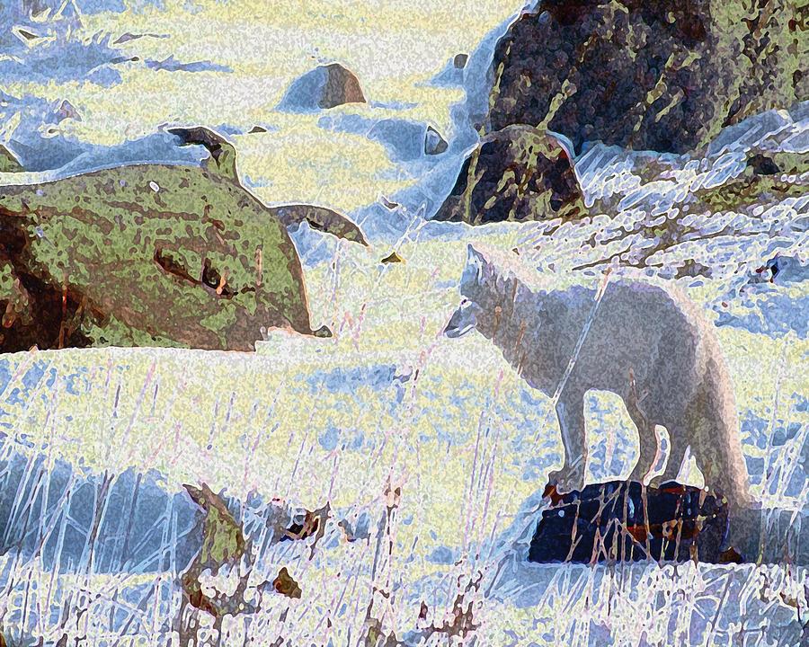Landscape Digital Art - Solitary Fox by Alice Ramirez