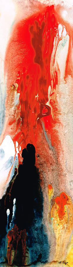 Red Painting - Solitary Man - Red And Black Abstract Art by Sharon Cummings