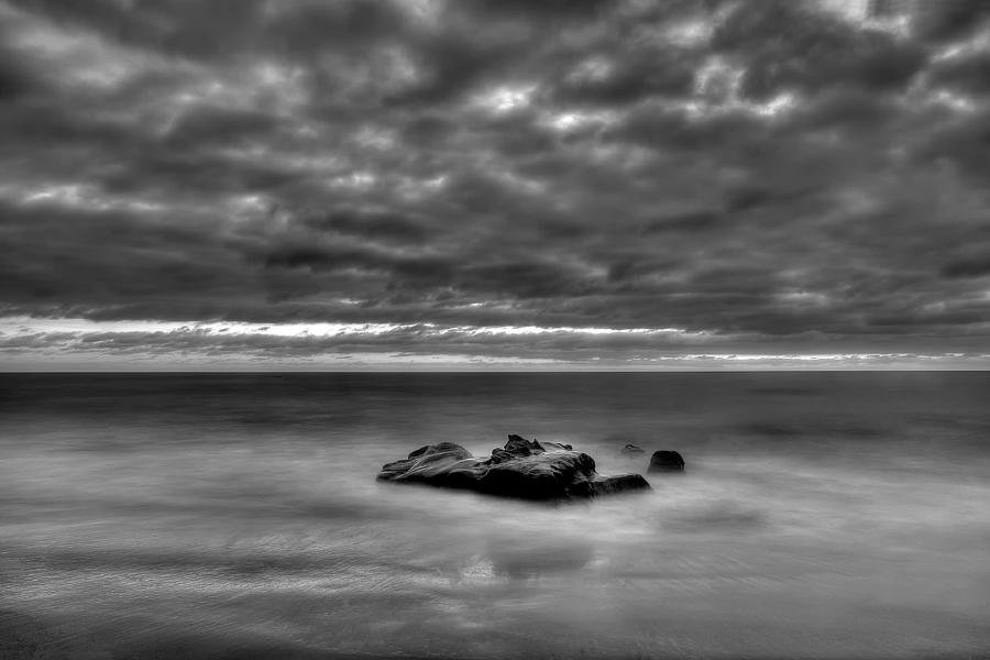 Beach Photograph - Solitary Rock - Black And White by Peter Tellone