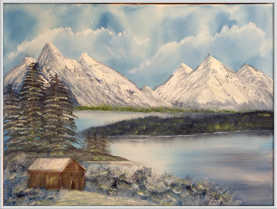 Cabin Painting - Solitude At The Lake by Joyce Krenson