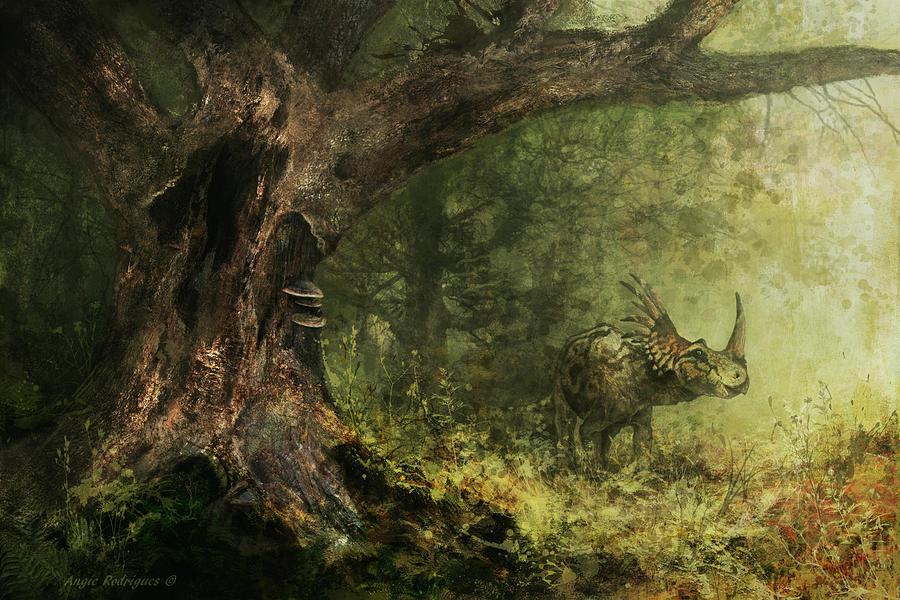 Dinosaur Painting - Solitude - Styracosaurus by Angie Rodrigues