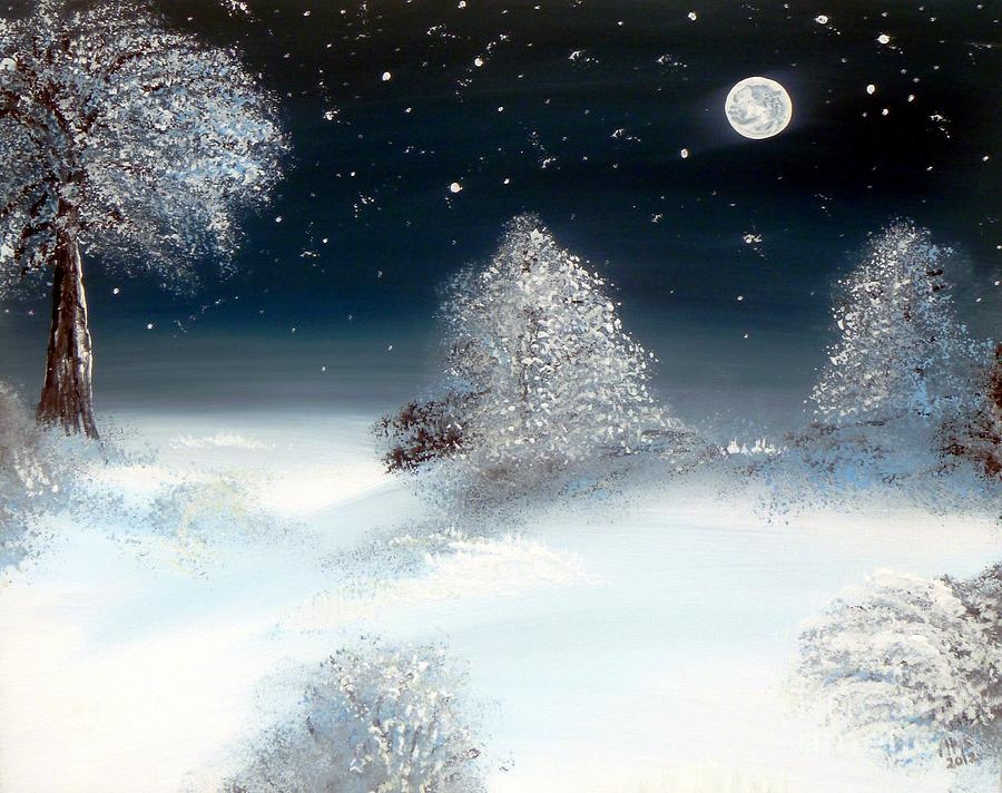 Solstice Painting - Solstice Snowfall I by Alys Caviness-Gober