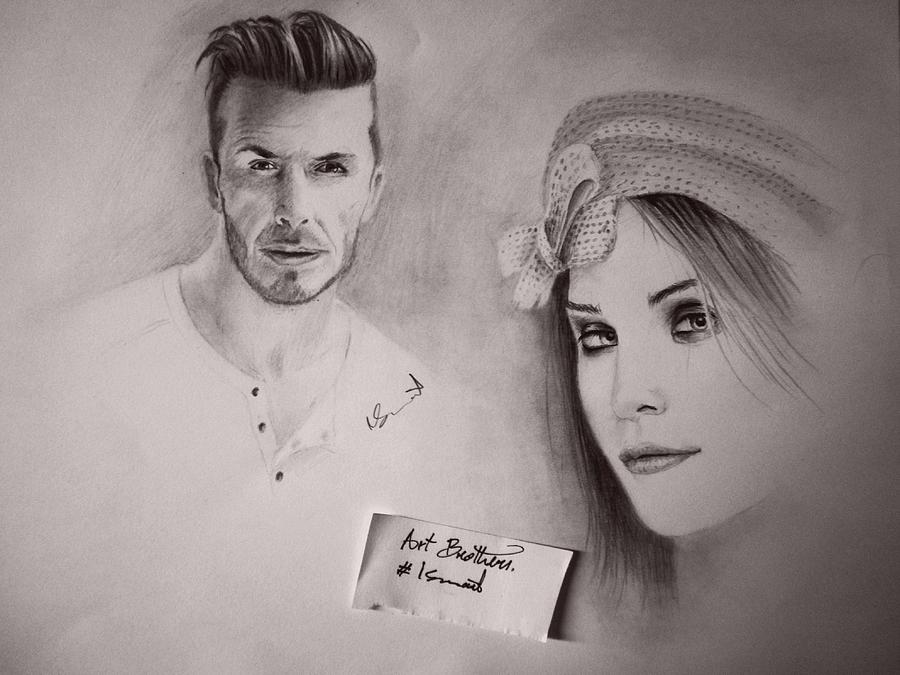 some night drawing David Beckham on the left Drawing by Ismail Bentaallah