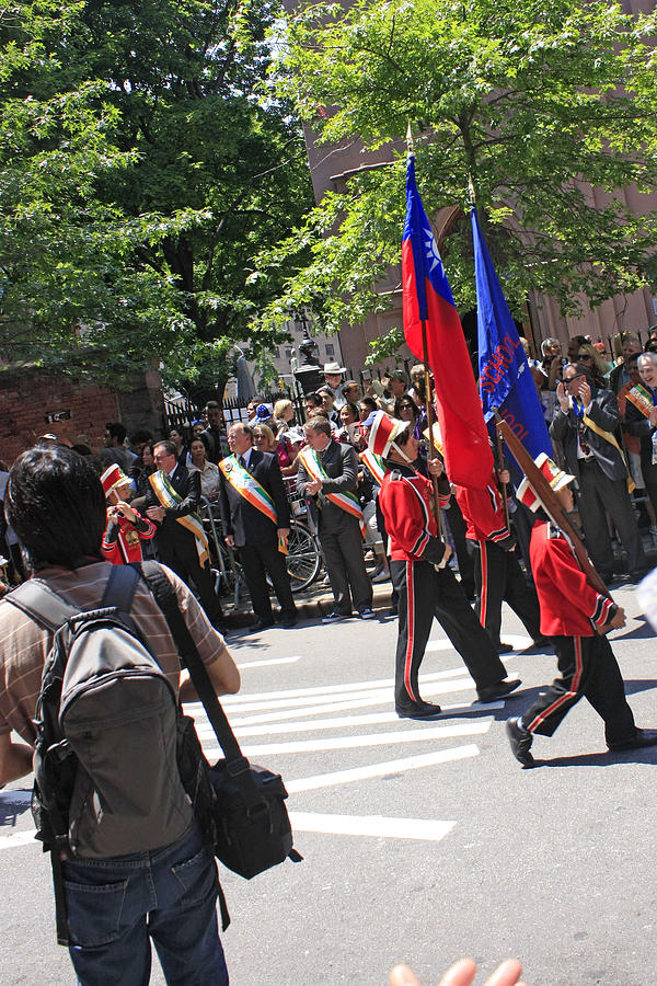 Some Young Flag Bearers Marching In The St. Patrick Old Cathedral Parade Photograph by James Connor