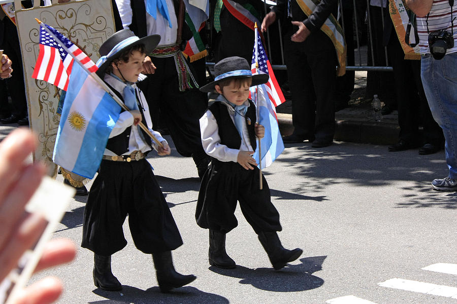 Children Photograph - Some Young Italian Boys Marching In The St. Patrick Old Cathedral Parade by James Connor