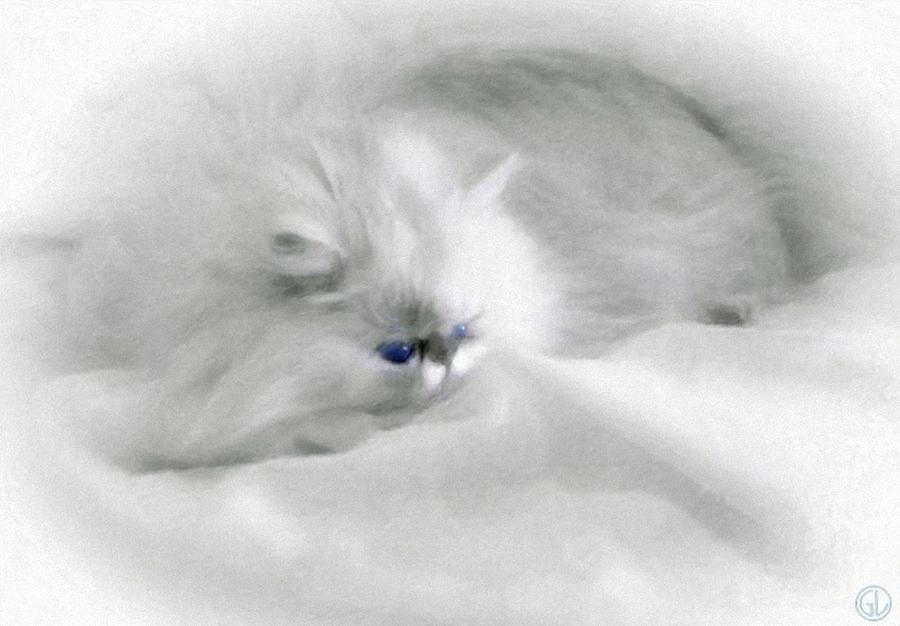 Cat Painting Digital Art - Somebodys White Darling by Gun Legler