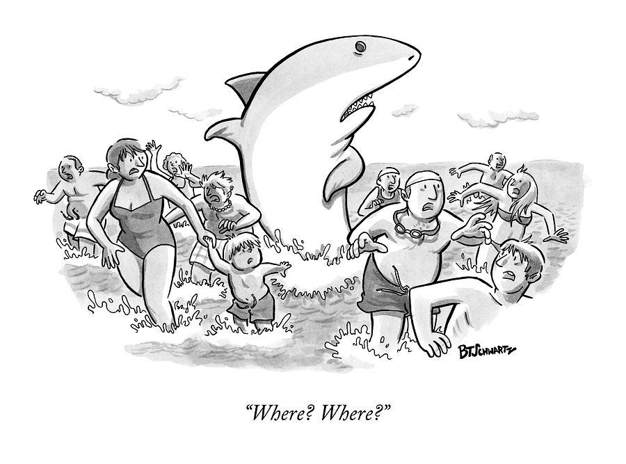 Someone Has Just Yelled Shark! At The Beach Drawing by Benjamin Schwartz