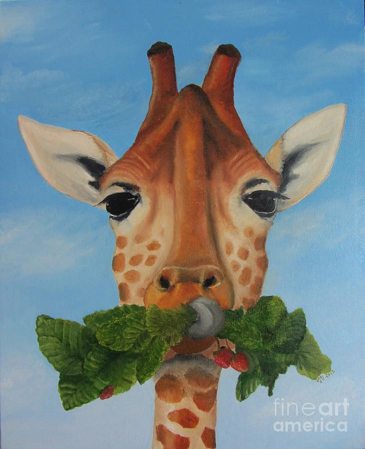 Giraffe Drawing - Someone Is Eating My Garden by Pam Fries