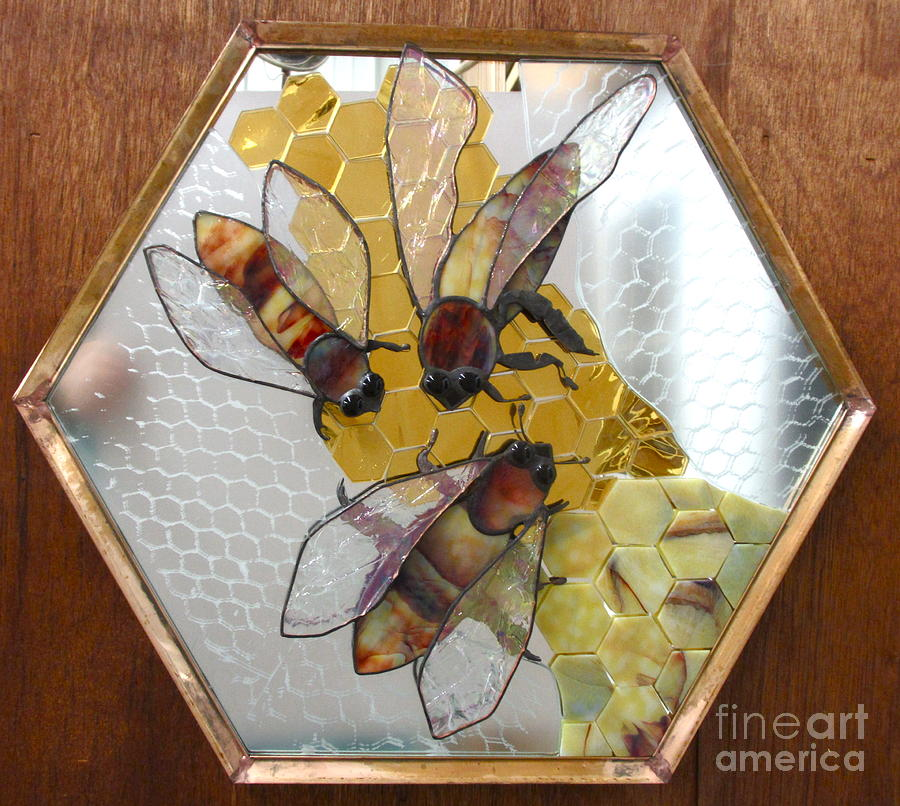 Glass Glass Art - Something About Bees by Sherri Anderson