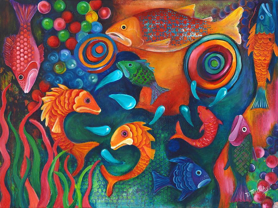 Salmon Painting - Somethings Fishy by Debbie McCulley